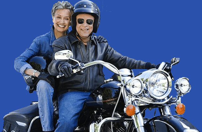 motorcycle smiling couple